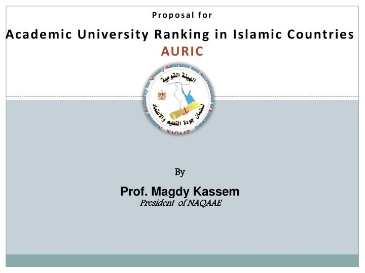 proposal for academic university ranking in islamic countries auric n.