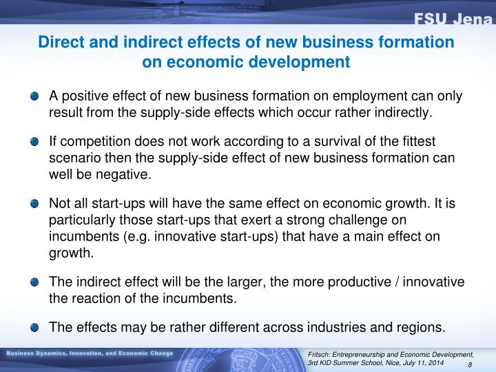 Direct and indirect effects of new business formation on economic development