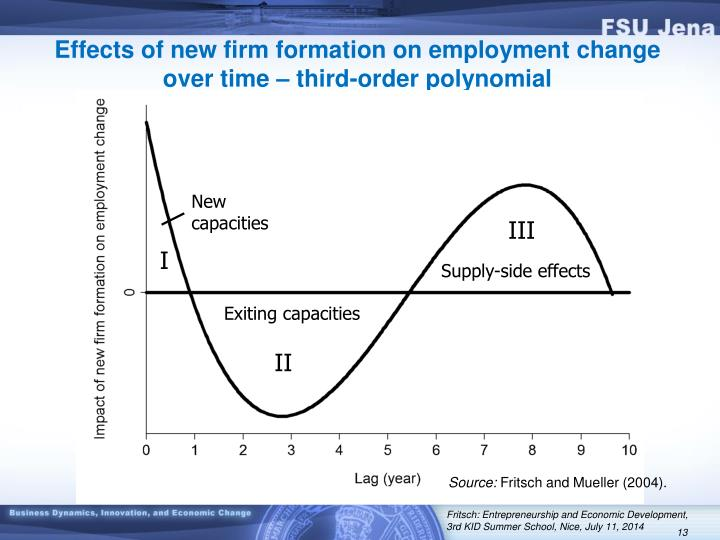 Effects of new firm formation on employment change over time – third-order polynomial