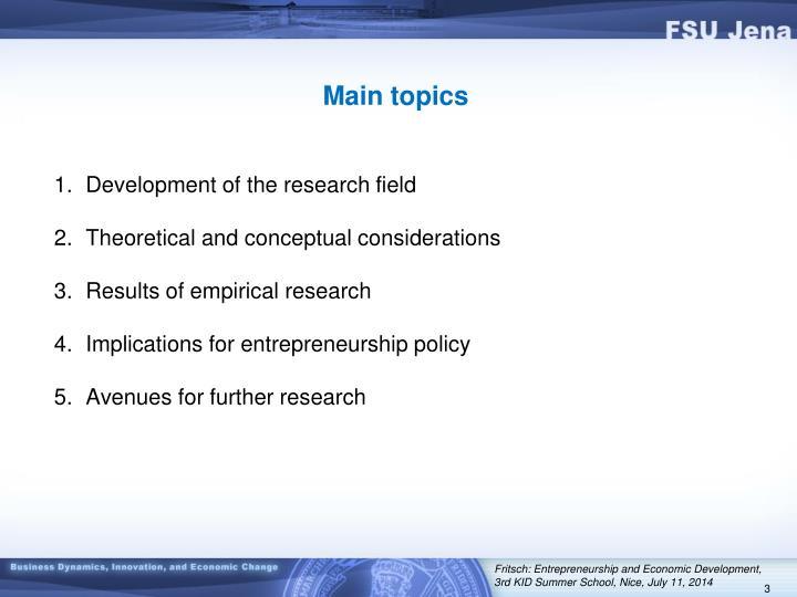 Main topics