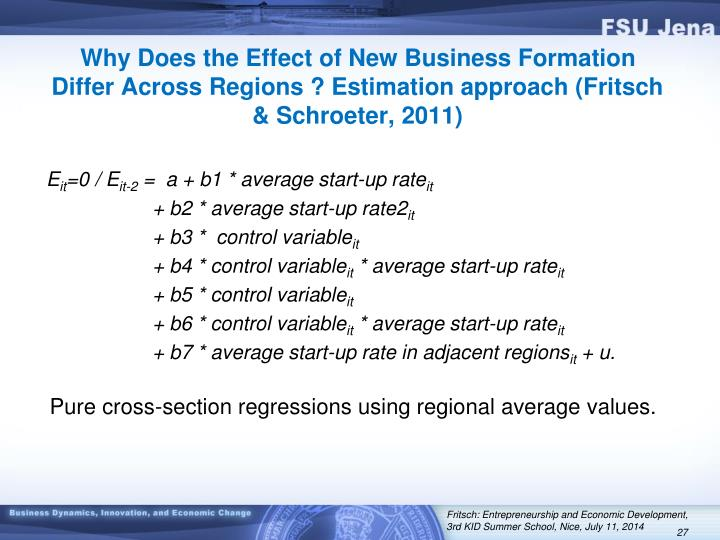 Why Does the Effect of New Business Formation Differ Across Regions ? Estimation approach (Fritsch & Schroeter, 2011)