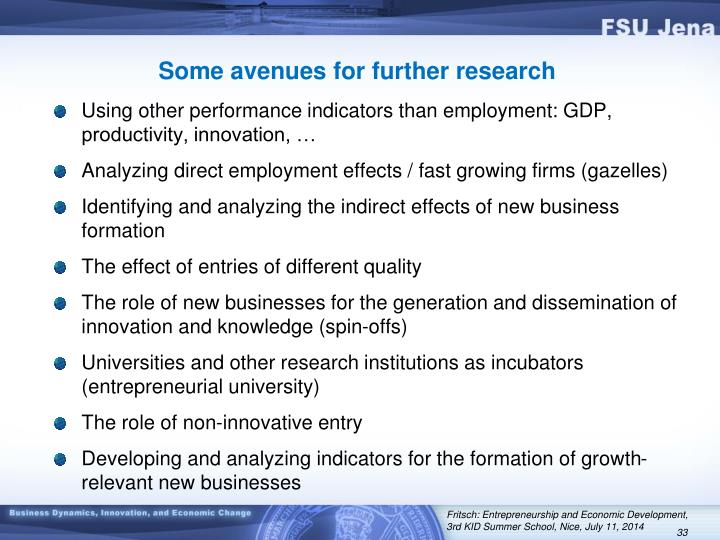 Some avenues for further research