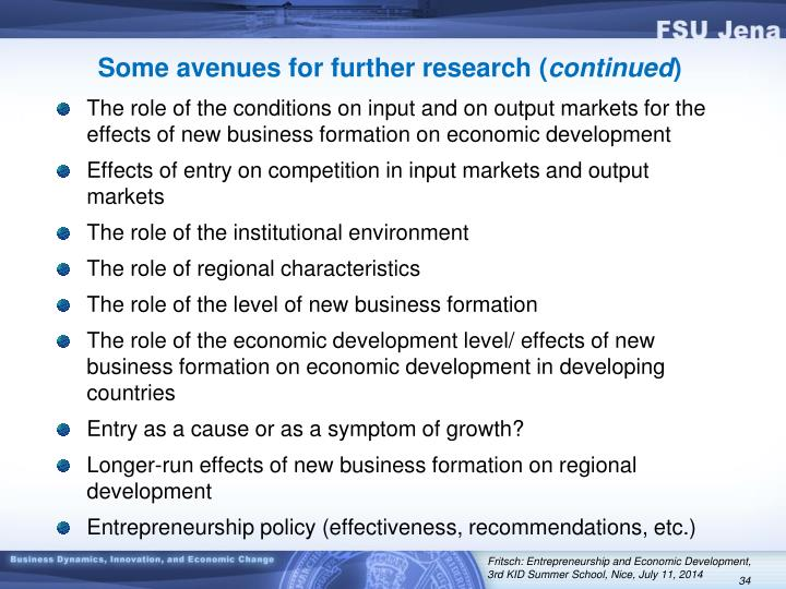 Some avenues for further research (