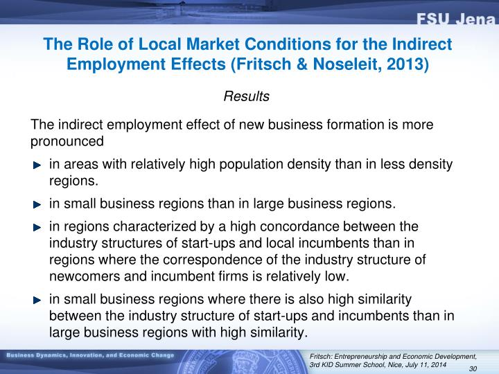 The Role of Local Market Conditions for the Indirect Employment Effects (Fritsch & Noseleit, 2013)