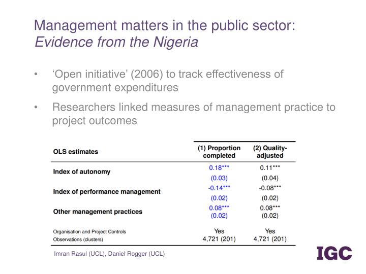 Management matters in the public sector: