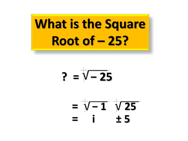 What is the Square Root of – 25?