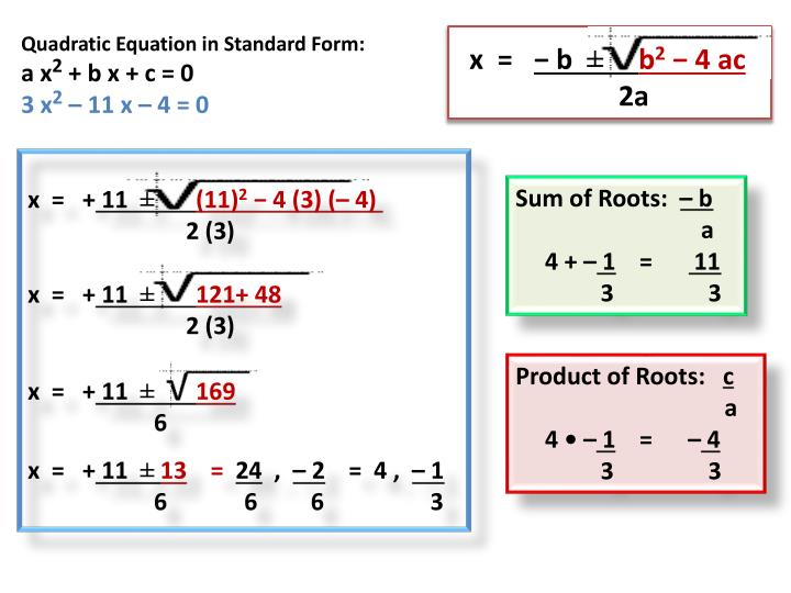 Quadratic Equation in Standard Form: