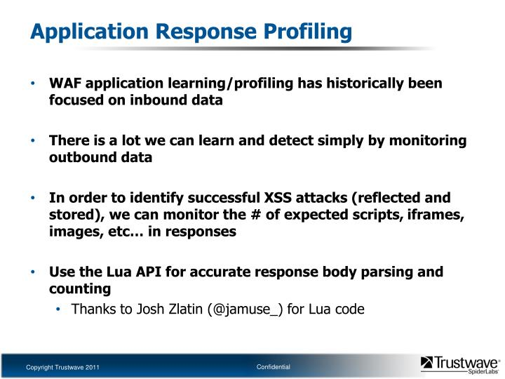 Application Response Profiling