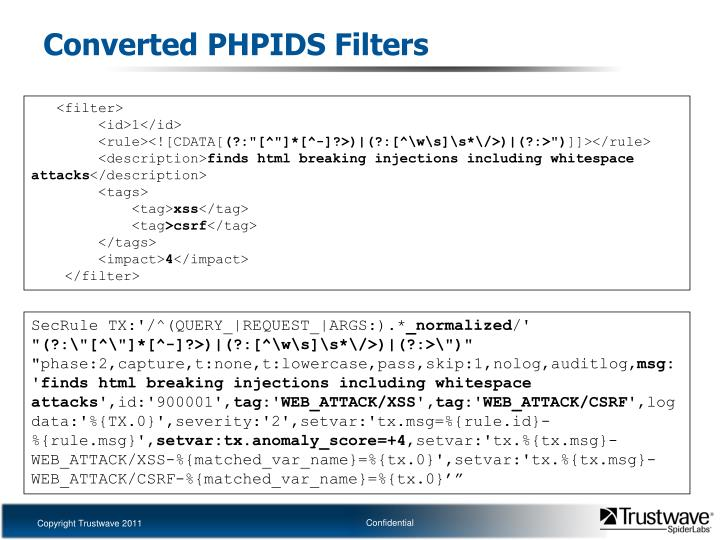 Converted PHPIDS Filters