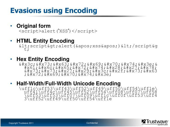 Evasions using Encoding
