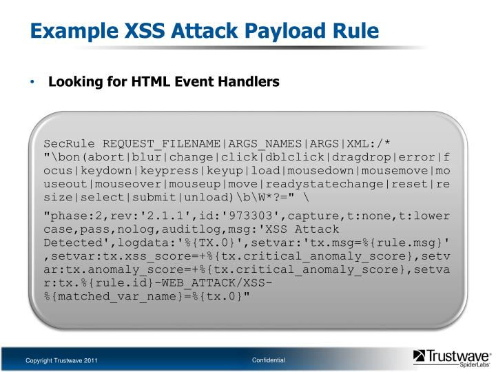 Example XSS Attack Payload Rule
