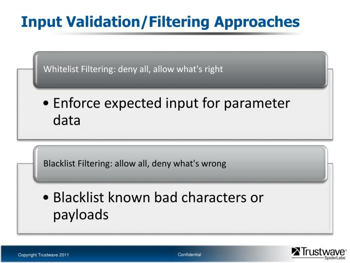Input Validation/Filtering Approaches