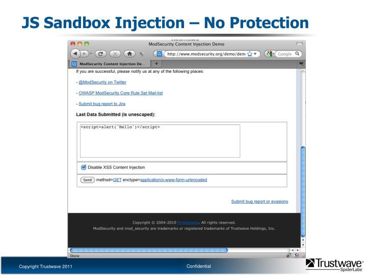 JS Sandbox Injection – No Protection