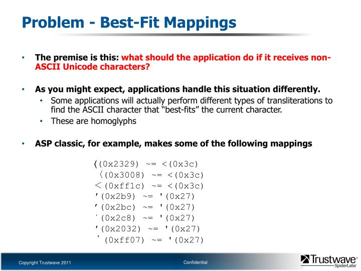 Problem - Best-Fit Mappings