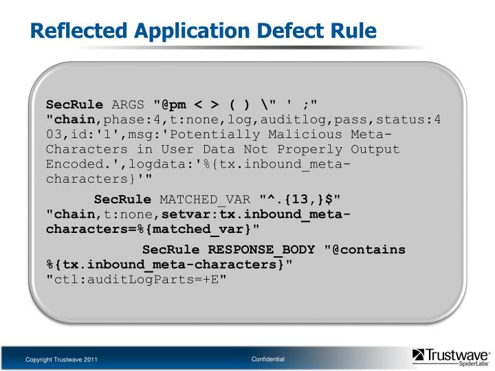 Reflected Application Defect Rule