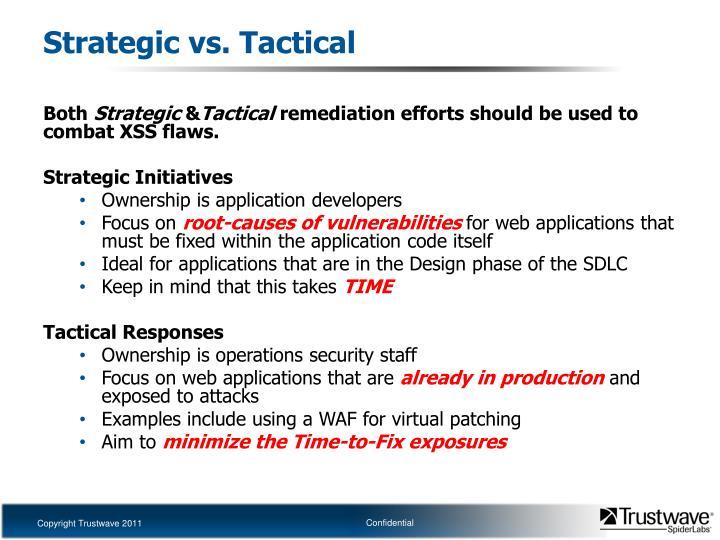 Strategic vs. Tactical