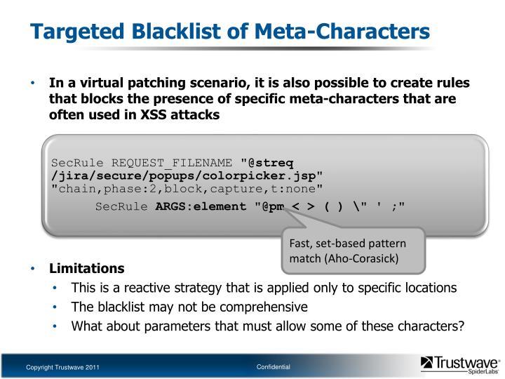 Targeted Blacklist of Meta-Characters