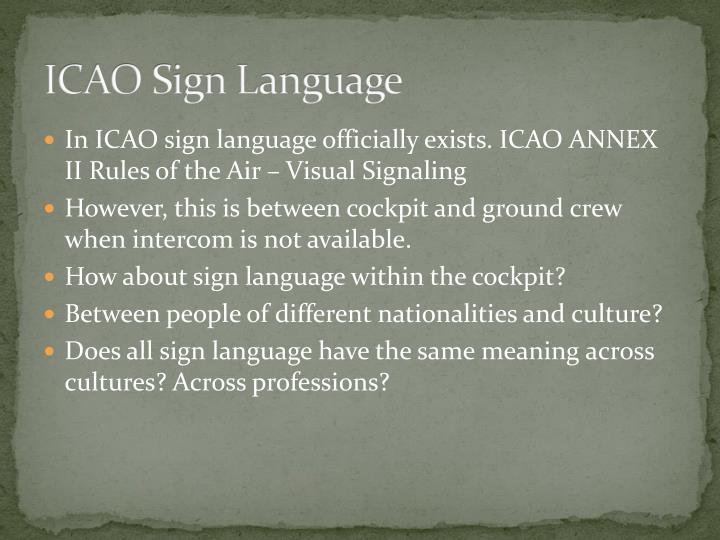 ICAO Sign Language