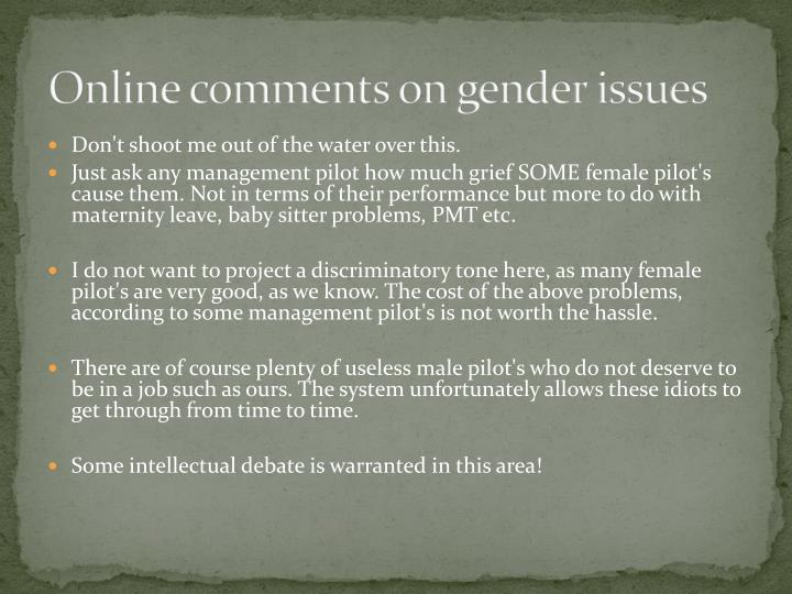 Online comments on gender issues