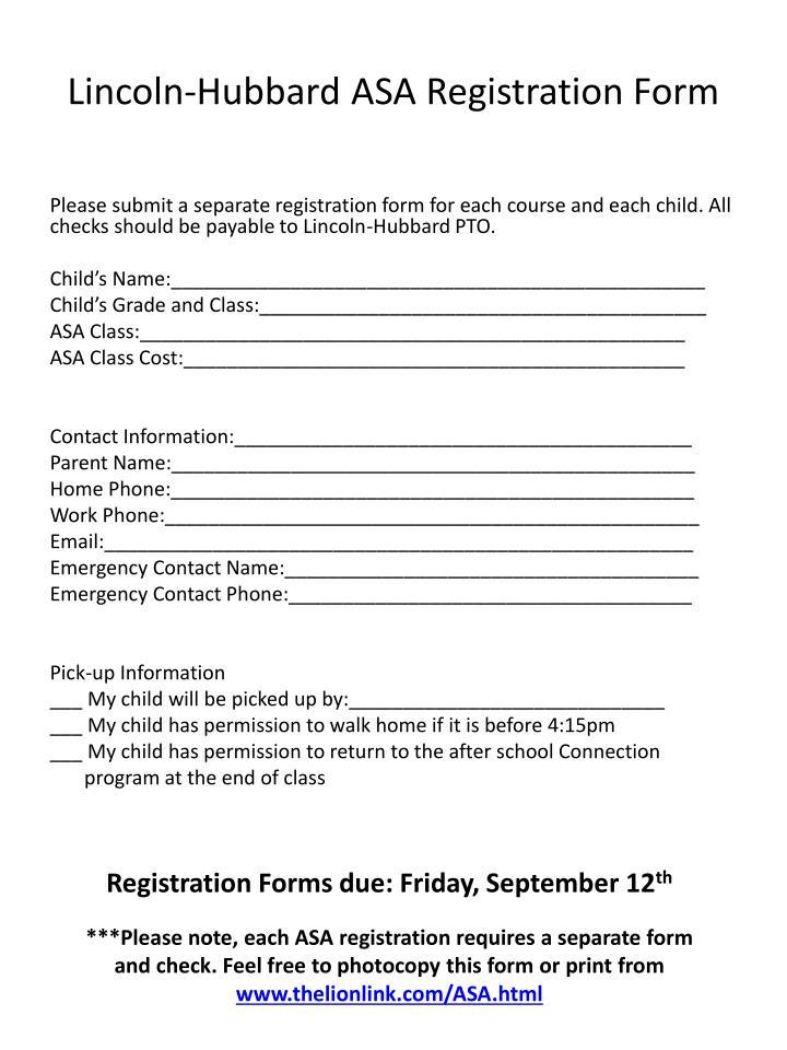 Lincoln-Hubbard ASA Registration Form