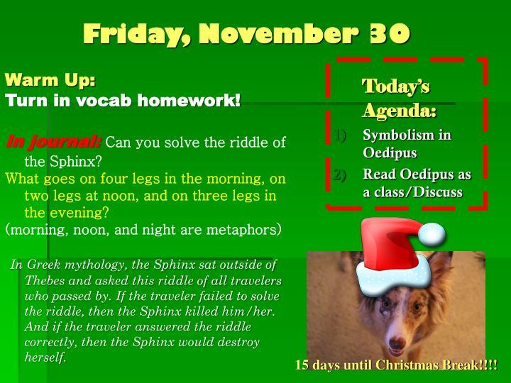 Friday, November 30