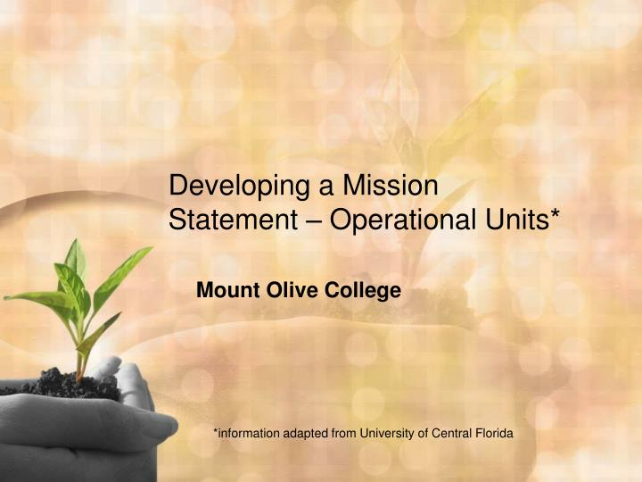 Developing a mission statement operational units