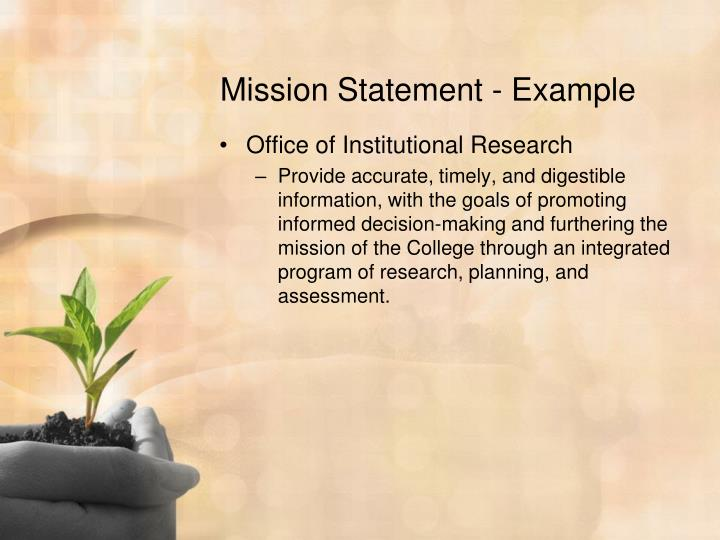 Mission Statement - Example