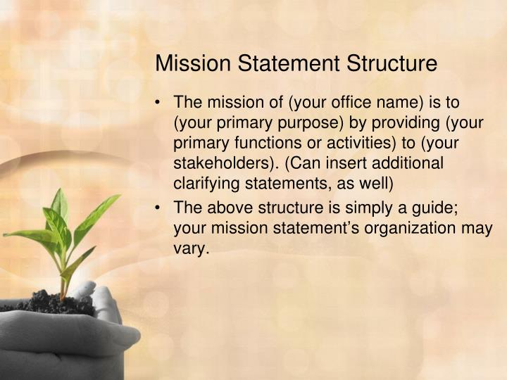 Mission statement structure