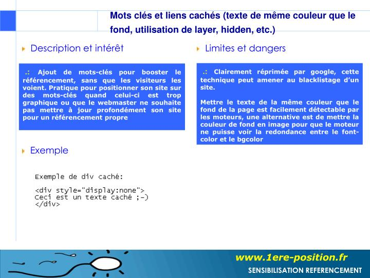 Mots clés et liens cachés (texte de même couleur que le