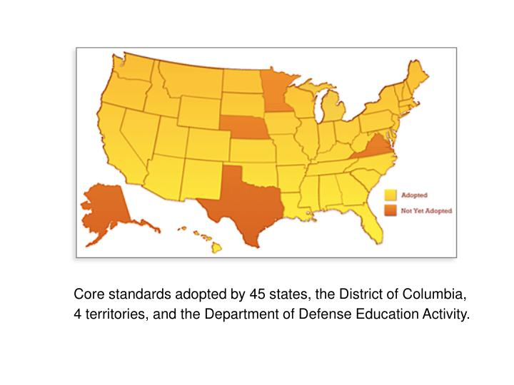 Core standards adopted by 45 states, the District of Columbia,