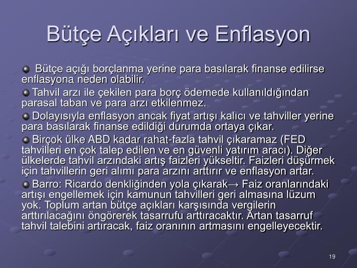 Bütçe Açıkları ve Enflasyon
