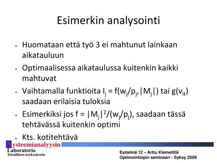 Esimerkin analysointi