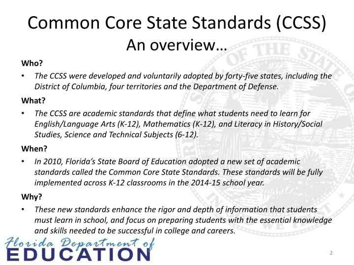 Common core state standards ccss an overview