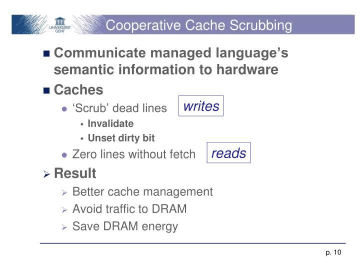 Cooperative Cache Scrubbing