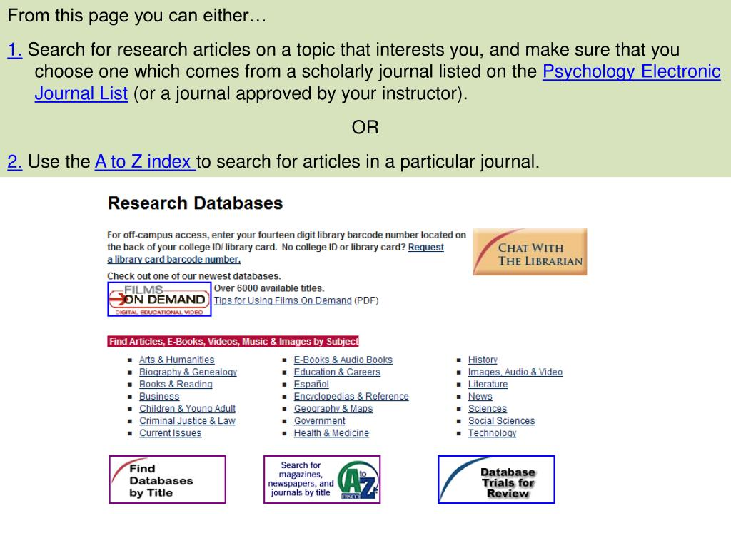PPT - Finding Psychology Research Articles for Review