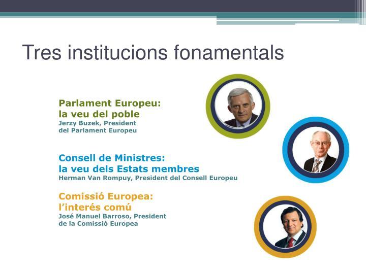 Tres institucions fonamentals
