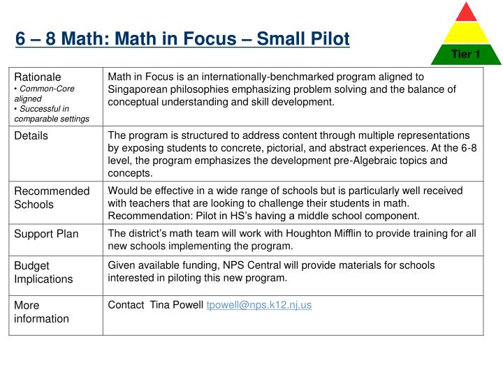 6 – 8 Math: Math in Focus – Small Pilot