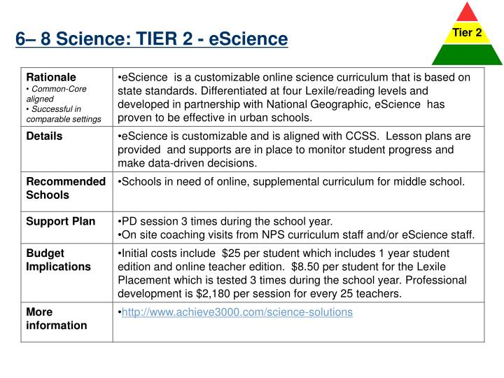 6– 8 Science: TIER 2 -