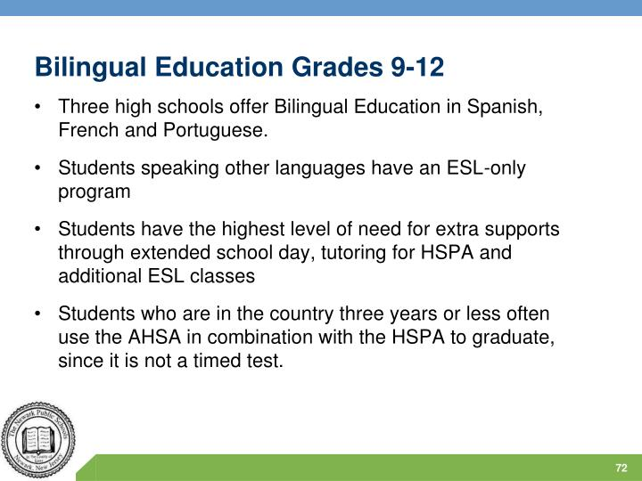 Bilingual Education Grades 9-12