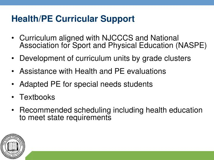Health/PE Curricular Support