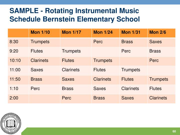 SAMPLE - Rotating Instrumental Music Schedule Bernstein Elementary School