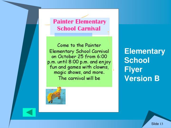 Elementary School Flyer Version B