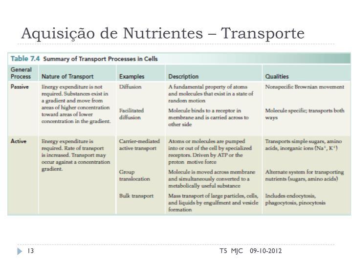 Aquisição de Nutrientes – Transporte
