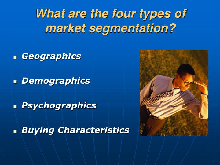 What are the four types of market segmentation?