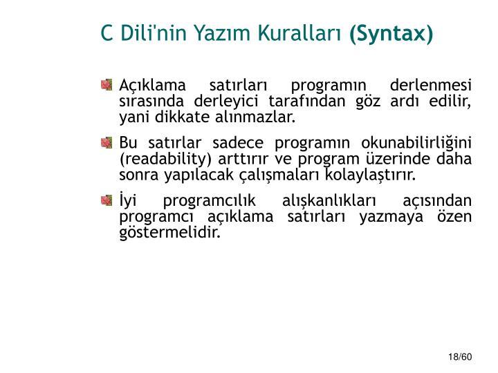 C Dili'nin Yazım Kuralları