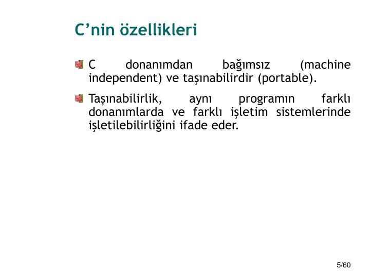 C'nin özellikleri