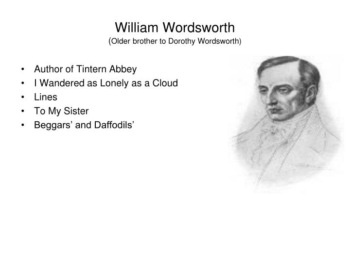 William wordsworth older brother to dorothy wordsworth