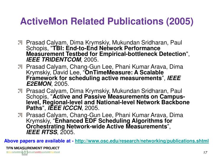 ActiveMon Related Publications (2005)