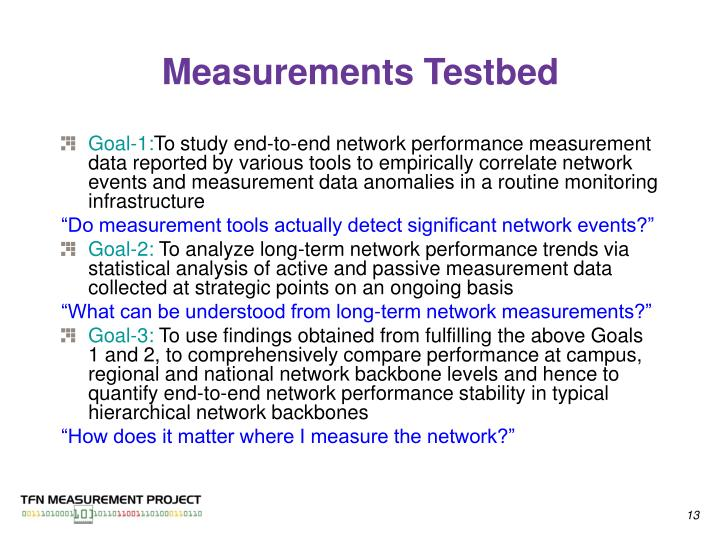 Measurements Testbed