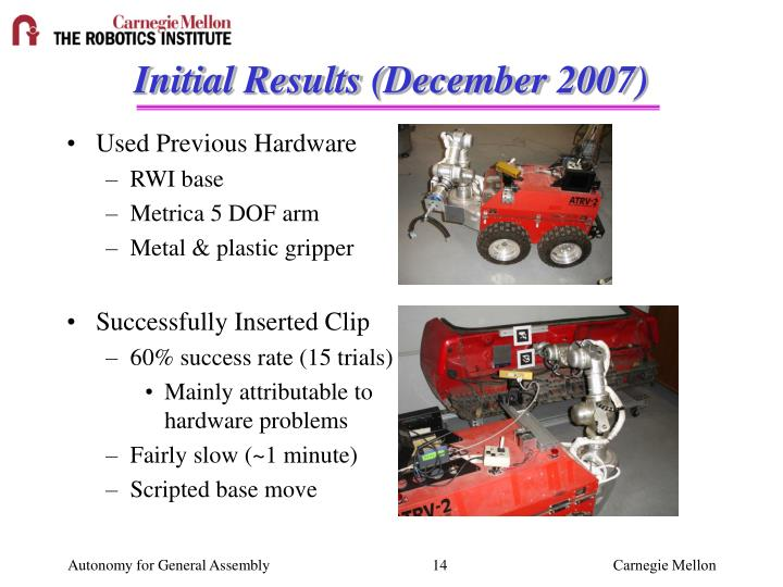 Initial Results (December 2007)